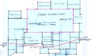 Location of James Oxford's Plantation in Present Day Caldwell County