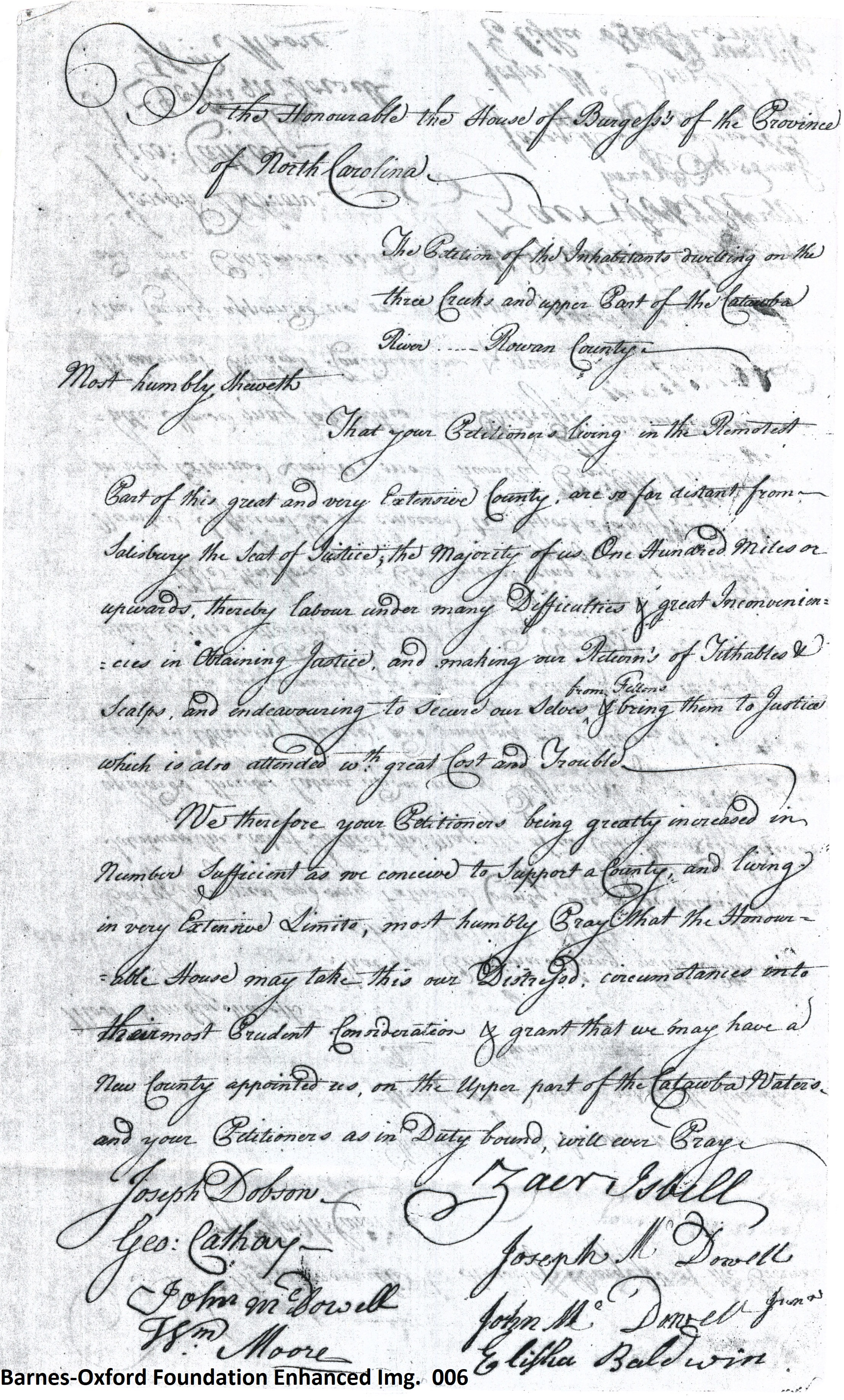 Petition Dividing Rowan creating Burke Co. 27 Nov. 1771 pg 6 of 9