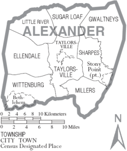 Map of Alexander County, NC Townships