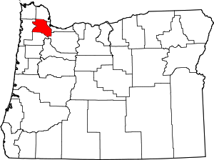 Map of Washington County, Oregon
